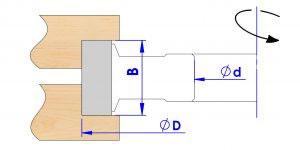 Fresa para labrar galces, ejemplo de trabajo con cotas nominadas SKU: F15