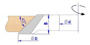 Ejemplo de trabajo de F20 fresa para chaflanes con cotas nominadas SKU: F20